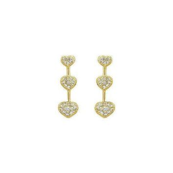 VOND4H Diamond Heart Journey Earrings : 14K Yellow Gold - 0.50 CT Diamonds