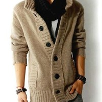 Men's knit cardigan sweater thick sweater coat Korean Slim line casual jacket