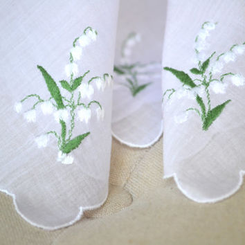 1950s Lily of the Valley Handkerchief Embroidered
