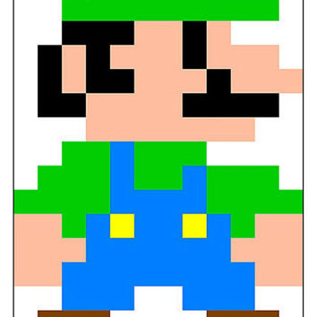 Instant Download, Super Mario Bros, 8 Bit Luigi, Cross Stitch Pattern, Gaming Fan Art