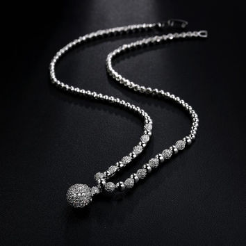 Beautiful White Gold Plated Plump Simulated Cubic Zirconia Diamond Ball Pendant Necklace
