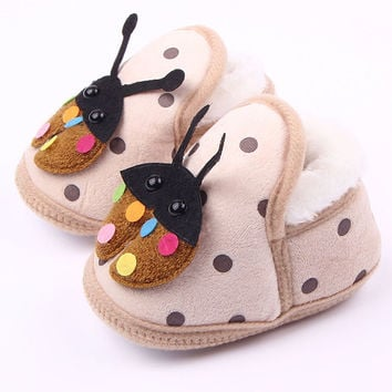 Super Cozy Newborn Baby Boy Ladybug Crib Shoes Toddlers Fleece Walking First Walkers SM6