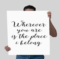 "Printable Art ""Wherever You Are Is The Place I Belong"" ONE DIRECTION Ready To Run Lyrics DIGITAL Print Gift Idea For Her One Direction Quote"