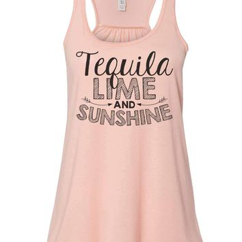 Tequila Lime And Sunshine - Bella Canvas Womens Tank Top - Gathered Back & Super Soft