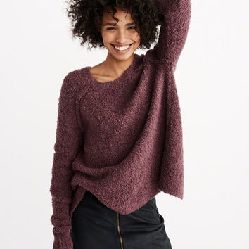 BOUCLE SPLIT-BACK PULLOVER SWEATER