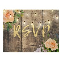 Rustic Wood Floral String Light Wedding RSVP Reply Postcard