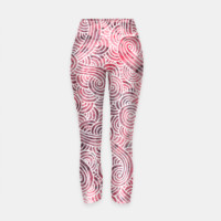 Red and white zentangles Yoga Pants, Live Heroes