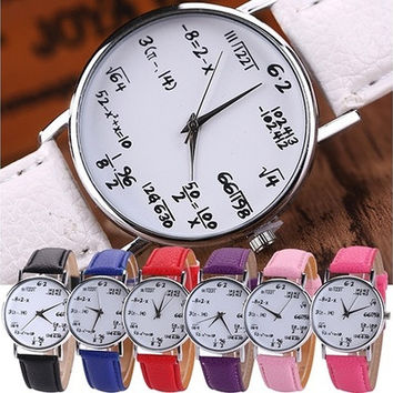 New Fashion Unisex Math Formula Equation Dial Faux Leather Quartz Wrist Watch [8322855425]