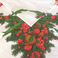 """Vintage Fallani & Cohn Christmas Tablecloth, Cotton with Evergreens, Berries and Candles, Red and Green on White, 47"""" by 50"""", Holiday Decor"""