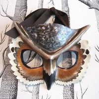 Horned Owl Leather Mask, Adult Size - Made to Order