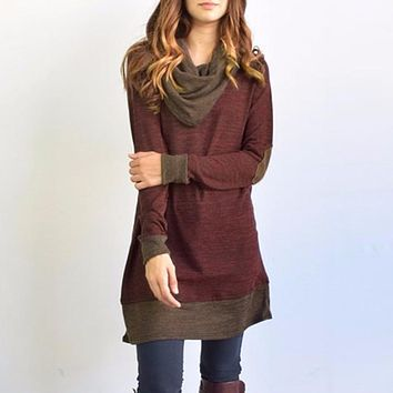 *online exclusive* cowl neck contrast tunic