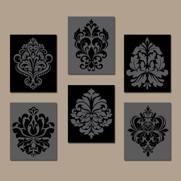 DAMASK Wall Art, Canvas or Prints BLACK GRAY Bedroom Pictures, Bathroom Decor, Swirl Scroll Design, Kitchen Decor Set of 6 Home Decor