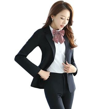 brand design professional women suits office business ol blue formal ladies pant suits two piece black uniform blazer sets 130