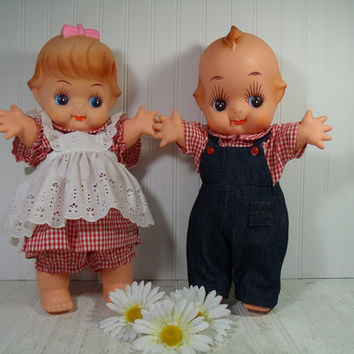 Vintage Oversize Large Display Kewpie Dolls Set Anatomically Correct Boy Kewpie & Adorable Girl Kewpie Dolls Prototype Pair Huge Articulated