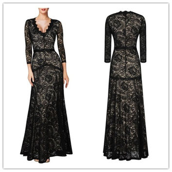 Black V-Neck Sheer Lace Overlay  Bow Waist Maxi  Dress