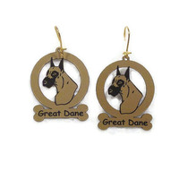 3293 Great Dane Head  Earrings by gclasergraphics on Etsy