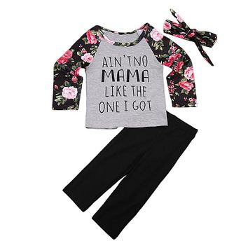 Floral Tops T-shirt Pants Hairband Clothes