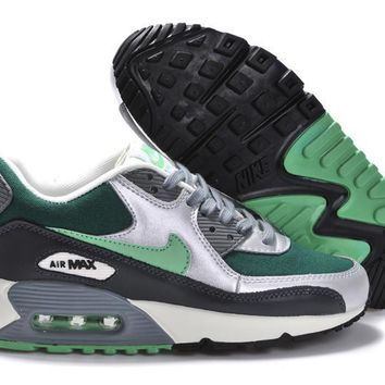 Free Shipping Nike Air Max 90 Gray - Green -Silver Basketball Sneaker