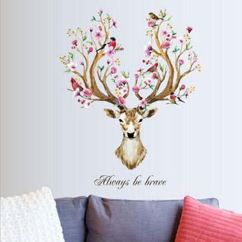 DIY Sika Deer Head Flowers Wall stickers For Living Room Art Vinyl Wall Decals For Kids Baby Home Decor adesivo de parede