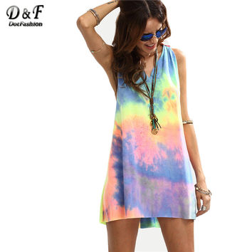 Dotfashion Ladies Summer Style Multicolor Tie-dye V Neck Sleeveless Knotted Shift Dress Hollow Out Shift Mini Dress