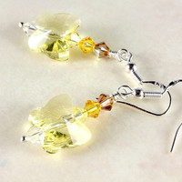 Swarovski Butterfly Earrings, Jonquil, Yellow Ombre, Sterling Silver
