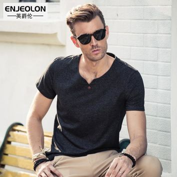 Enjeolon brand 2017 short sleeve t shirt men, cotton V-collar solid black clothing, base fit fashion casual men t-shirts T1631