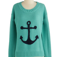 ModCloth Nautical Long Sleeve That's Moor Like It Sweater
