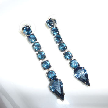 Vintage Dangle Earrings, Sapphire Blue Dangling Earrings