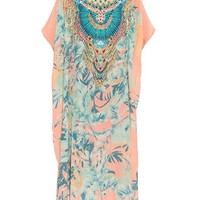 Garden of Dreams-print embellished kaftan