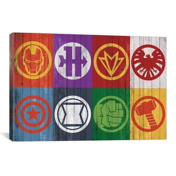 Marvel Comics AVENGERS ASSEMBLE: COLORED WOOD CLASSIC BADGE ART LINE-UP