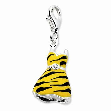 925 Sterling Silver 3D Enameled CZ Tiger Print Dress Dangle Charm