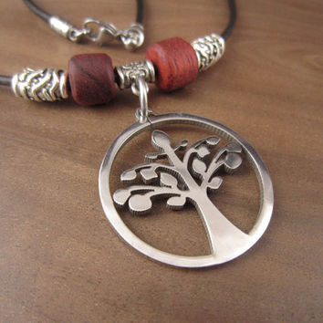 Tree Of Life Necklace, Stainless Steel Tree Of Life Pendant Charm With Beaded Leather Cord, Family Tree Necklace Tree Of Life Jewelry