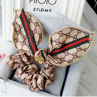 GUCCI simple rabbit ears hair rope fabric red and green bow hair headband hair accessories Elegant light khaki
