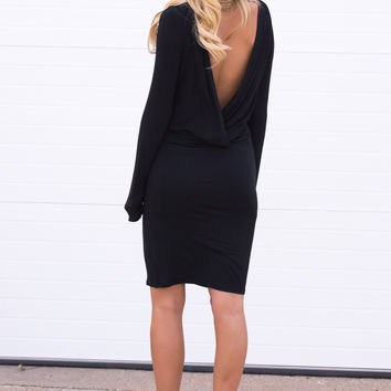 Bekka Long Sleeve Drape Open Back Dress - Black