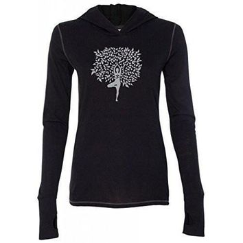 """Yoga Clothing for You Ladies """"Tree Pose"""" Lightweight TriBlend Hoodie"""
