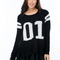 Number One Girl Sporty Knit Sweater