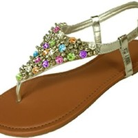 Womens Metallic & Faux Leather Gladiator Sandals Flat Shoes W/Beads & Rhinestones (5/6, Silver Multi 6349)