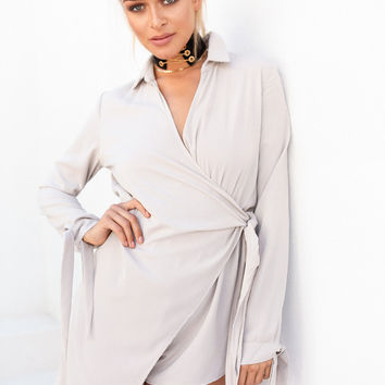 Buy Taupe Wrap Playsuit Online by SABO SKIRT