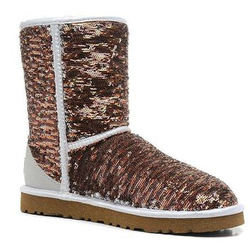 ESBON UGG 1003353 Flipped Over Sparkles Women Men Fashion Casual Wool Winter Snow Boots Bronze