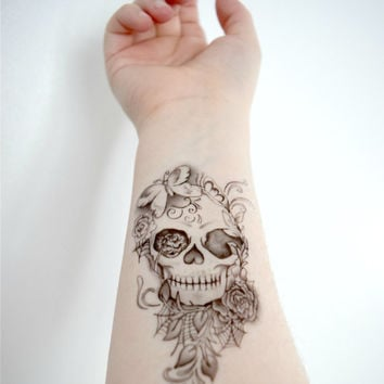 Temporary Tattoo - Skull, Floral, Butterfly, Flower, Leafs, Skeleton