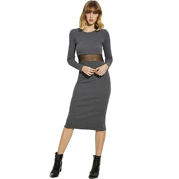 Young17 Women Autumn Dress Girls Red Long Sleeve O-Neck Bodycon Sexy Mid-Calf Solid Black Dresses Fabrics Girls Pullover Dress