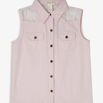 Lace Yoke Sleeveless Shirt