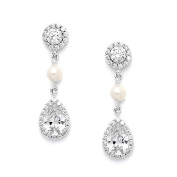 CZ and Freshwater Pearl Designer Bridal Earrings