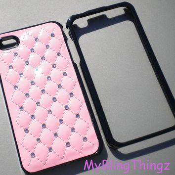Quilted Baby Pink Leather Black Frame Case Cover / Clear Crystal Diamond Rhinestone Bling for iPhone 4 4G 4S handmade w/ Swarovski Elements