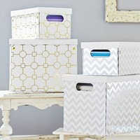 Metallic Printed Paper Storage Bins