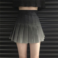 Free Shipping Gradient plaid high waist pleated skirt