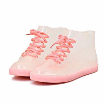 Luminous Jelly Waterproof Lace Up Flat Ankle Rain Boots