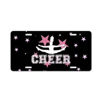 PINK AND BLACK CHEERLEADER ALUMINUM LICENSE PLATE