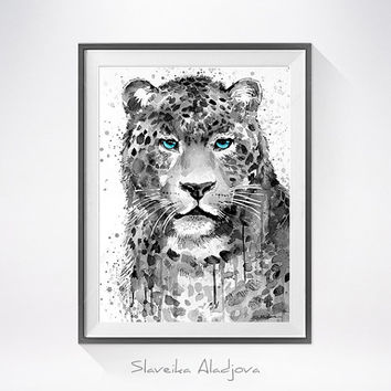 Panther Leopard Jaguar watercolor painting print, animal watercolor, animal painting,animal art,animal portrait,Jaguar art, Jaguar painting
