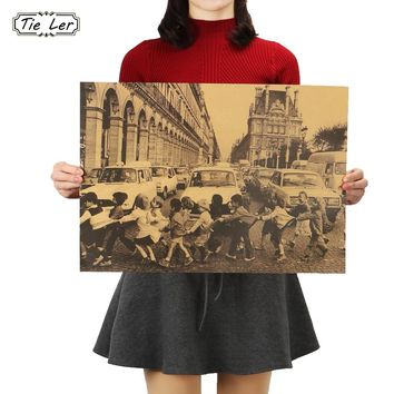 TIE LER Children Crossing the Streets of Paris Poster Bar Decorative Painting Retro Kraft Paper Wall Sticker 51.5X36cm